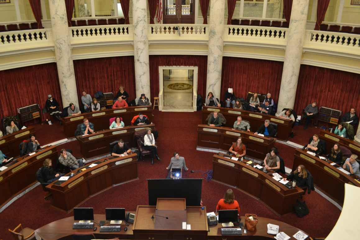 View from balcony of activist academy, which was held in senate chambers of Idaho Statehouse